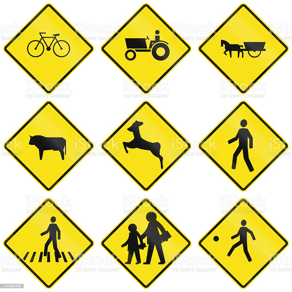 Crossing Signs In Chile stock photo