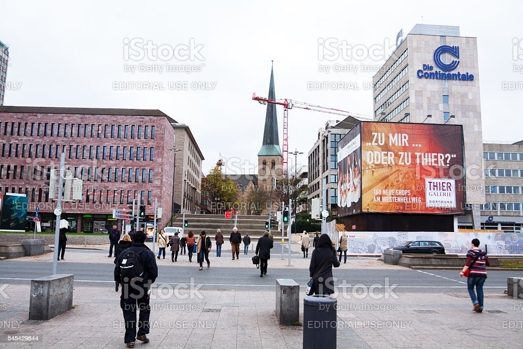 Crossing street Königswall in Dortmund stock photo
