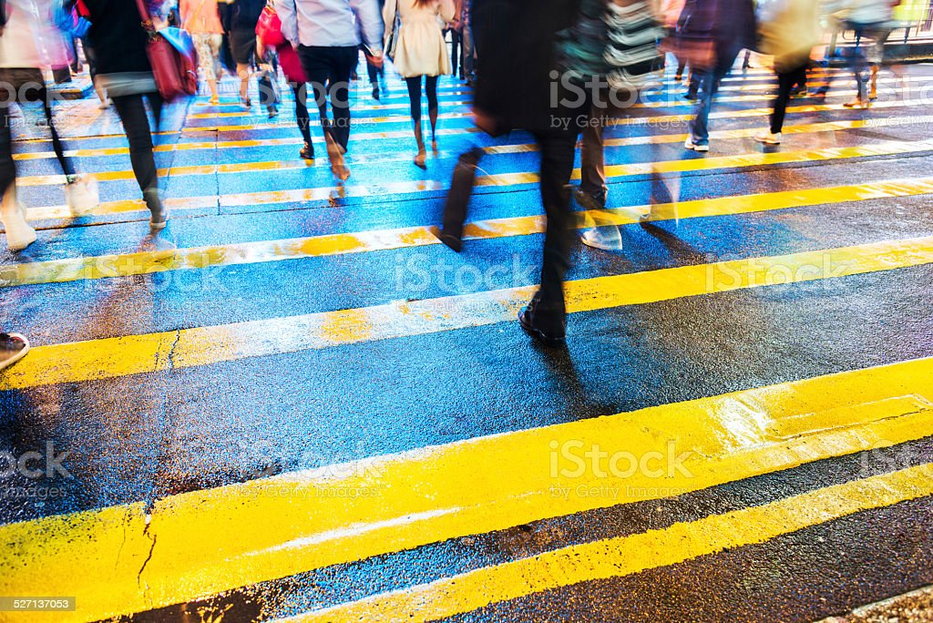 crossing street stock photo