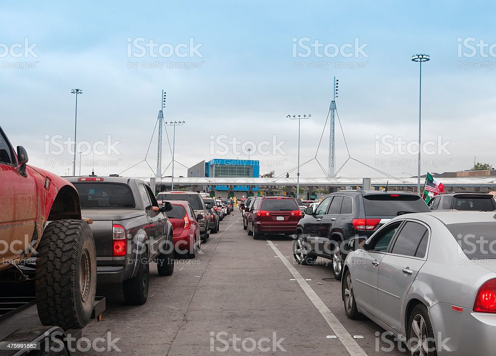 Crossing the border from Mexico entering USA  at San Diego stock photo