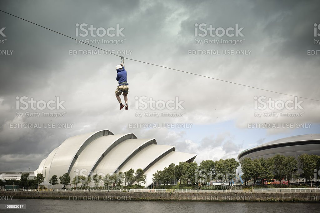 Crossing the Clyde By Zipline royalty-free stock photo