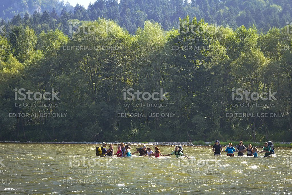 Crossing the Dunajec river stock photo