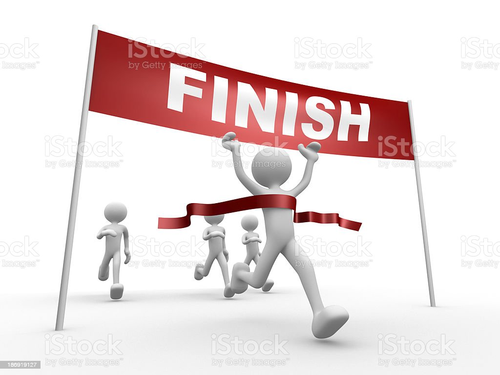 Crossing the finish line stock photo