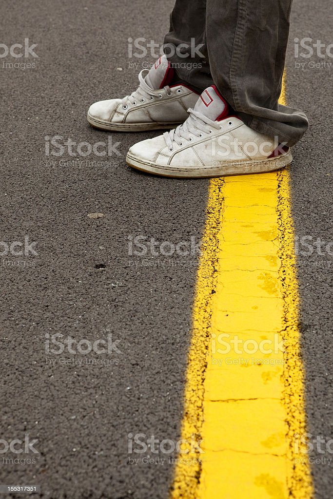 Crossing The Line stock photo