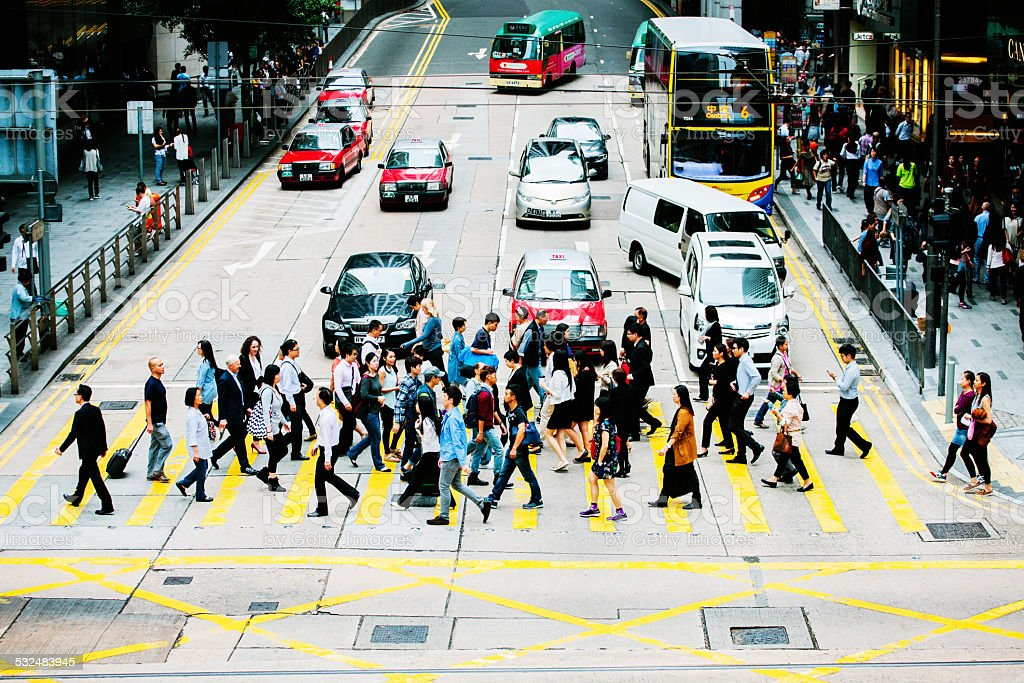 Crossing the road, Central, Hong Kong stock photo