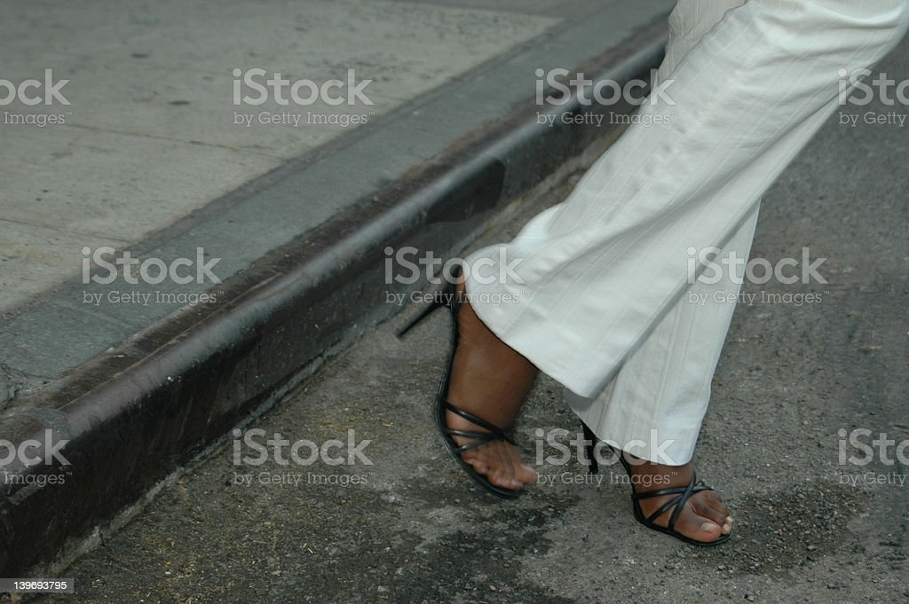crossing the road royalty-free stock photo