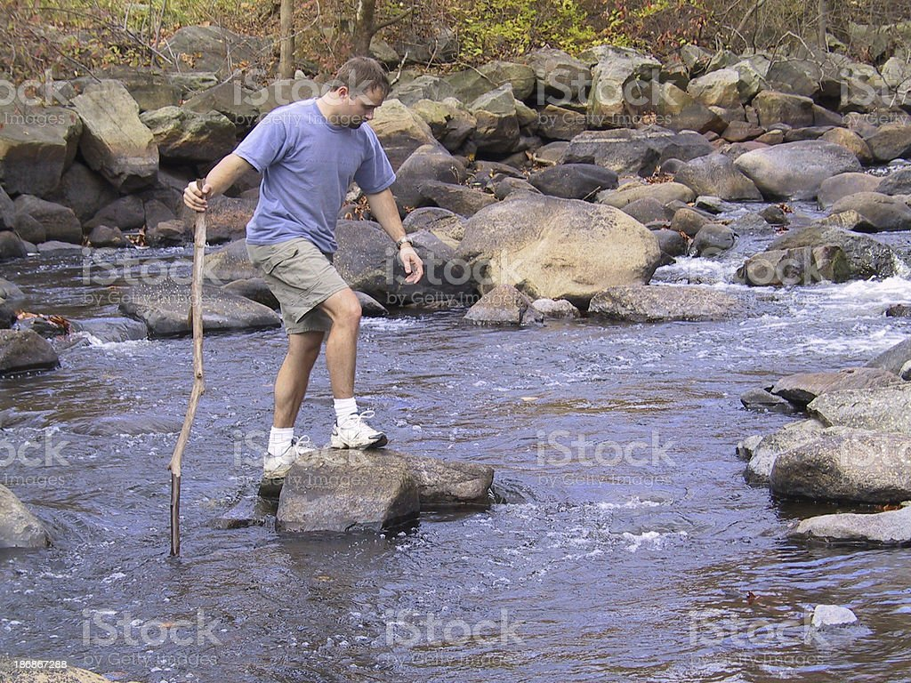 crossing the stream royalty-free stock photo