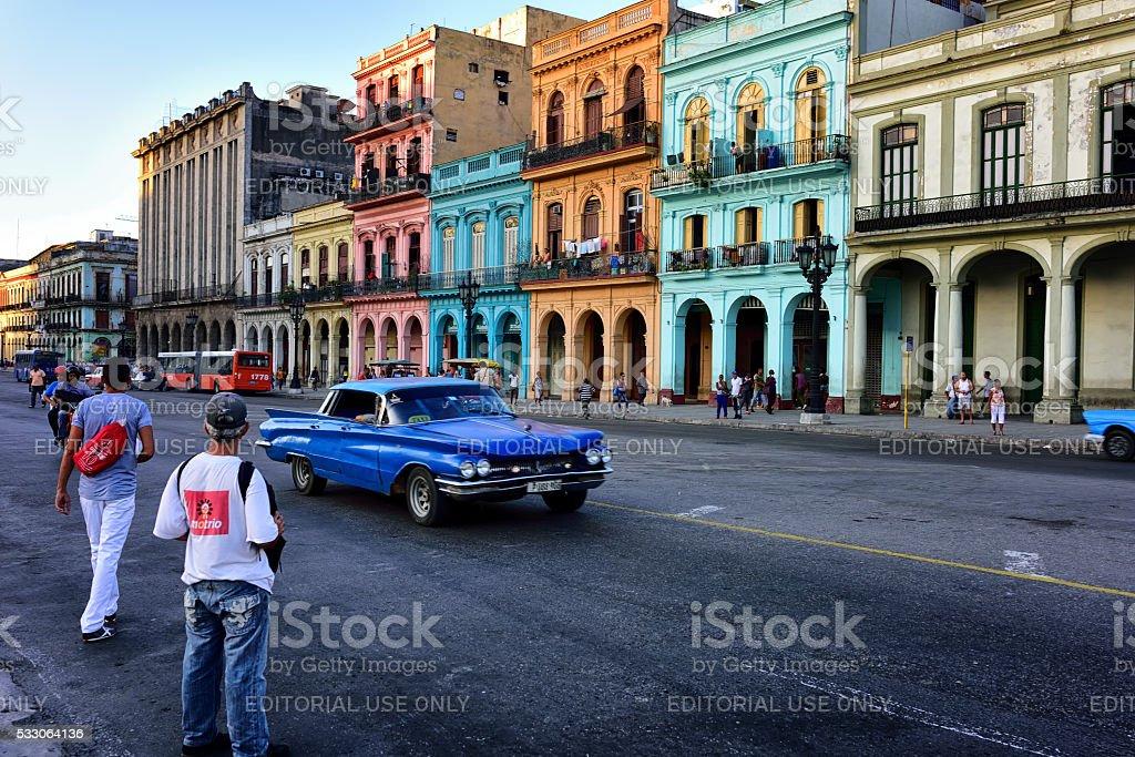 Crossing the street in Central Havana, Cuba stock photo