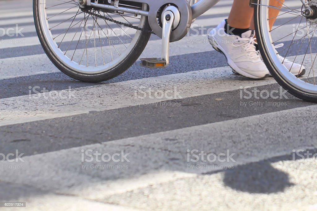 Crossing the street stock photo
