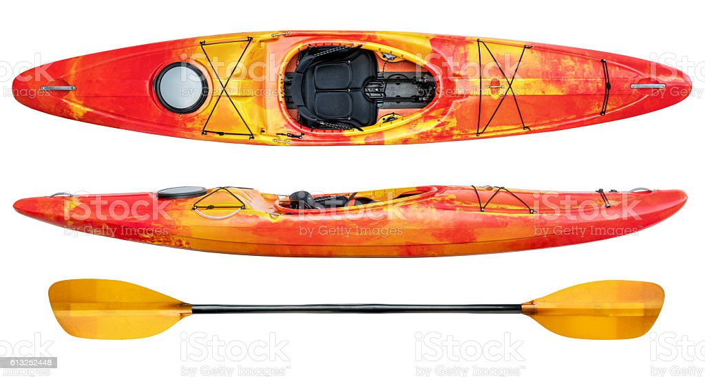 crossover whitewater kayak isolated stock photo