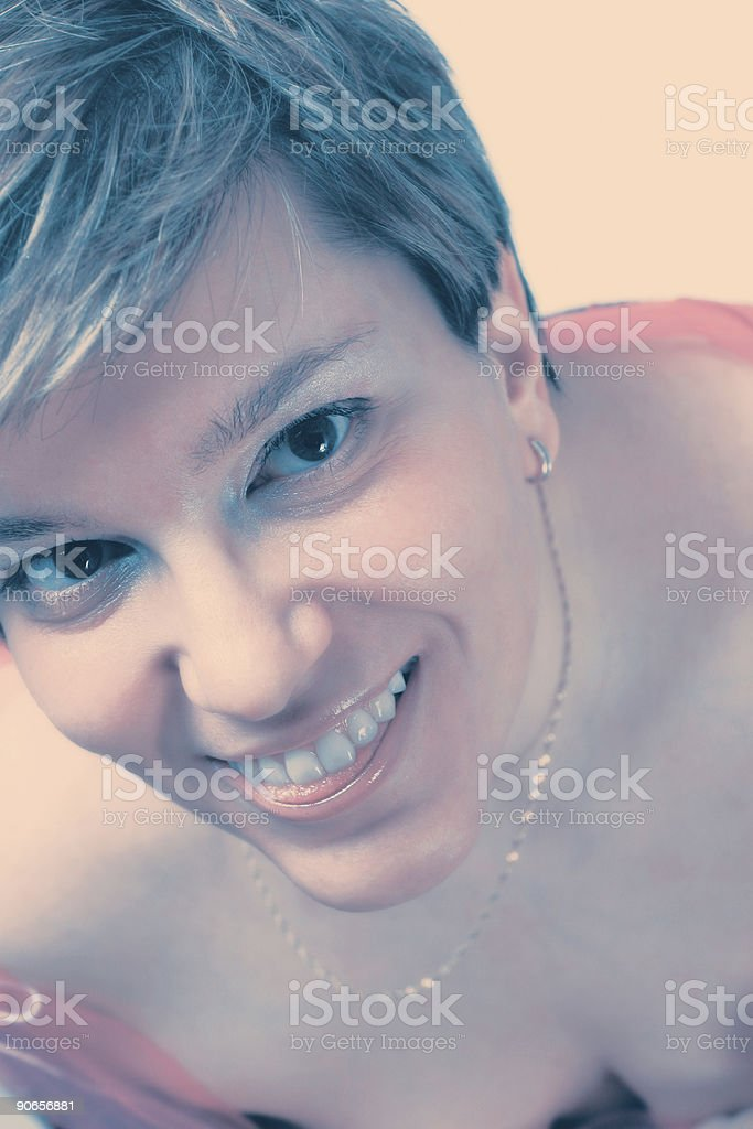 Crossprocessed happy girl royalty-free stock photo