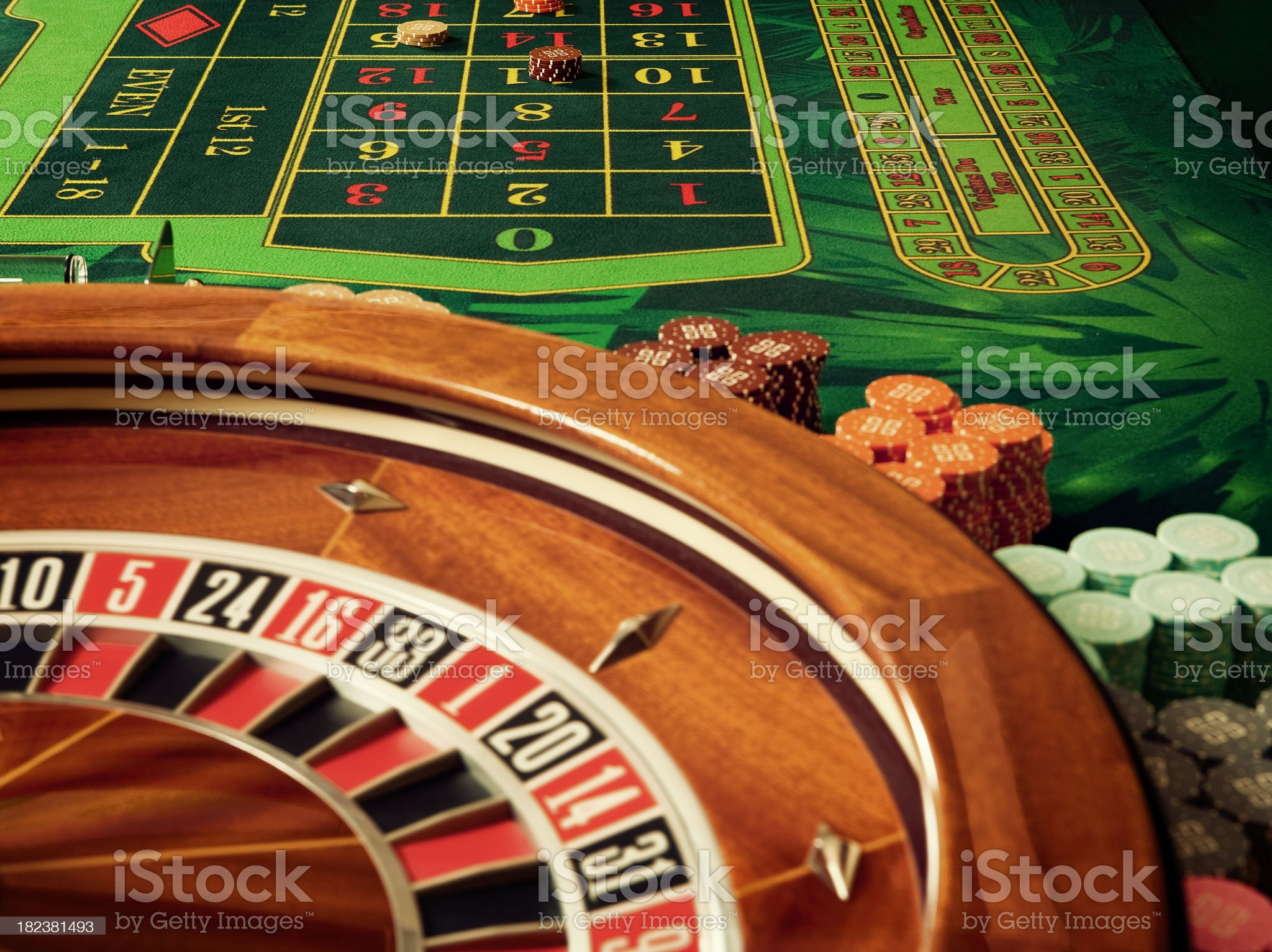 Cross-processed image of the roulette table in a casino royalty-free stock photo