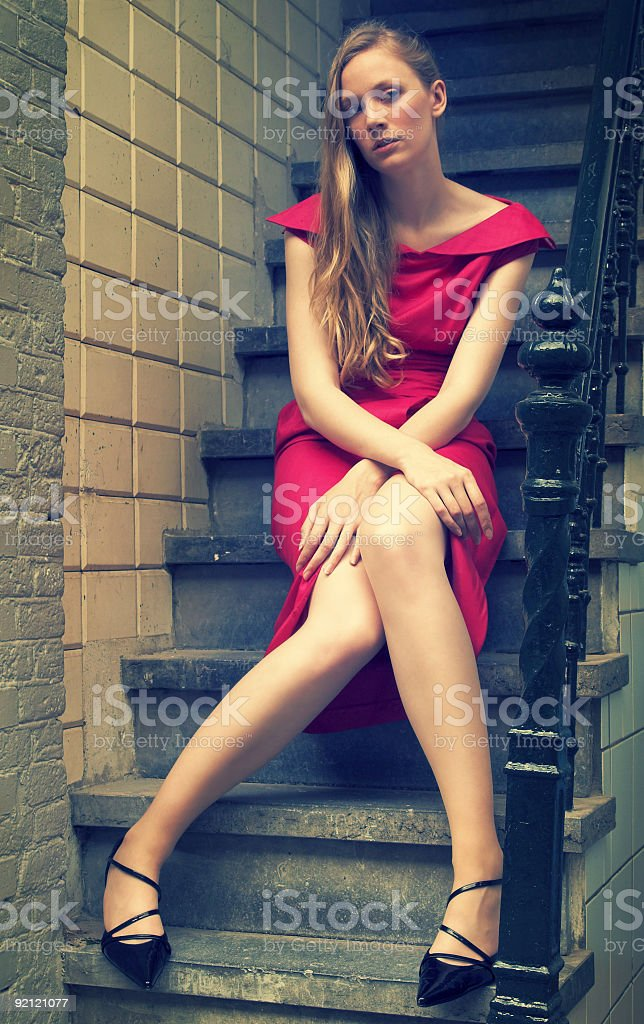Cross-processed portrait of a pretty fashion model royalty-free stock photo