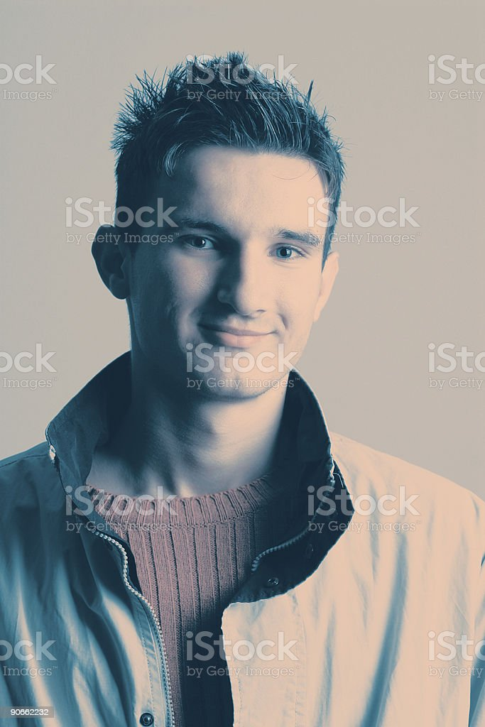Crossprocessed portrait of a young man royalty-free stock photo