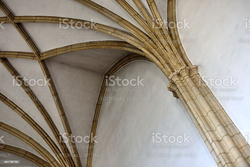 cross-ribbed vault in the fortified church of Kirchschlag stock photo