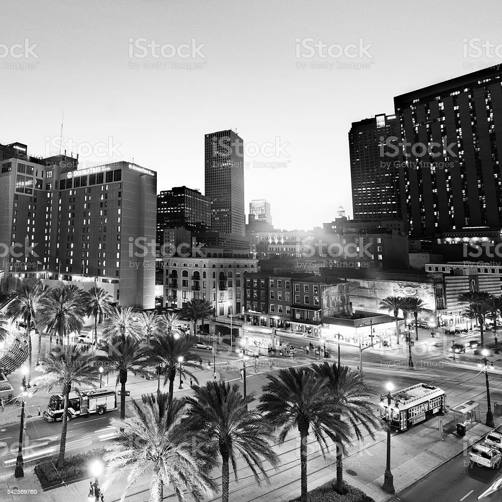 Crossroad at sunset, New Orleans. Aerial View. Black And White stock photo
