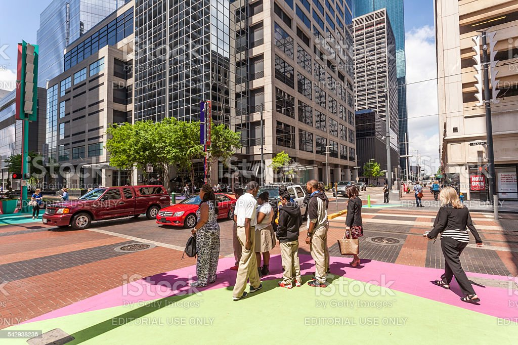 Crossroad in Houston Downtown stock photo