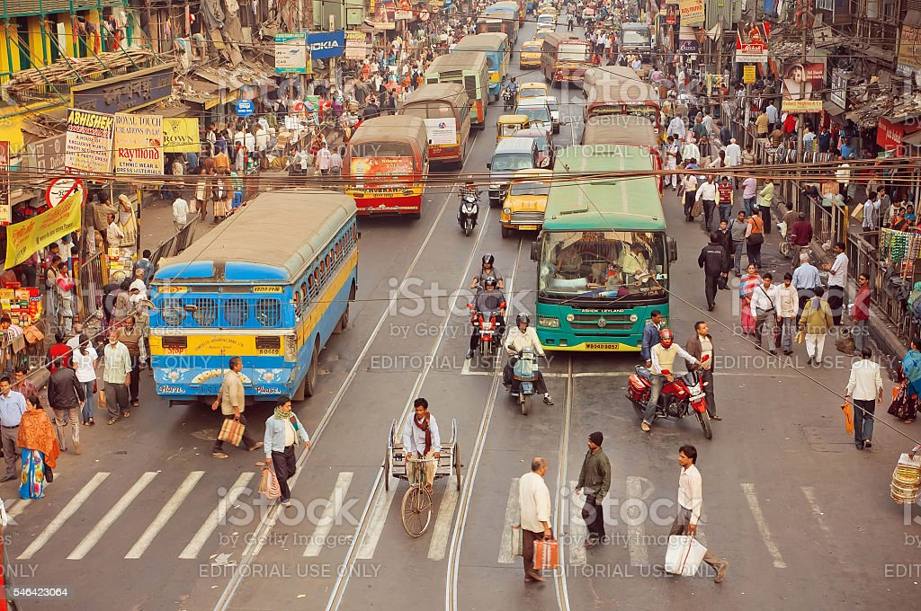 Crossroad of busy modern city in Asia with cars stock photo