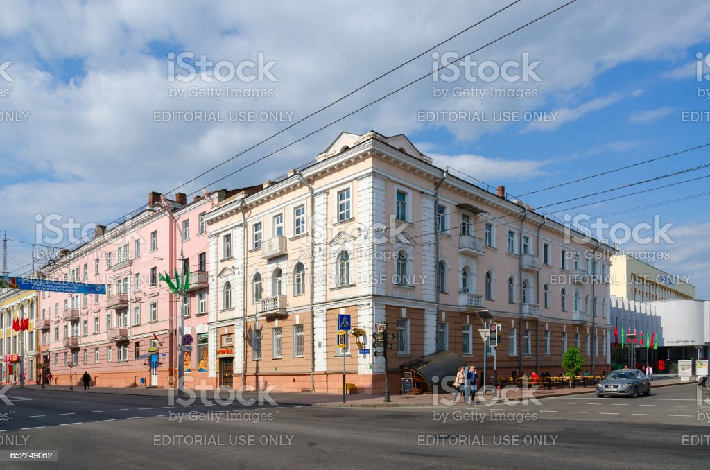 Crossroad of streets Lange and Sovetskaya, Gomel, Belarus stock photo