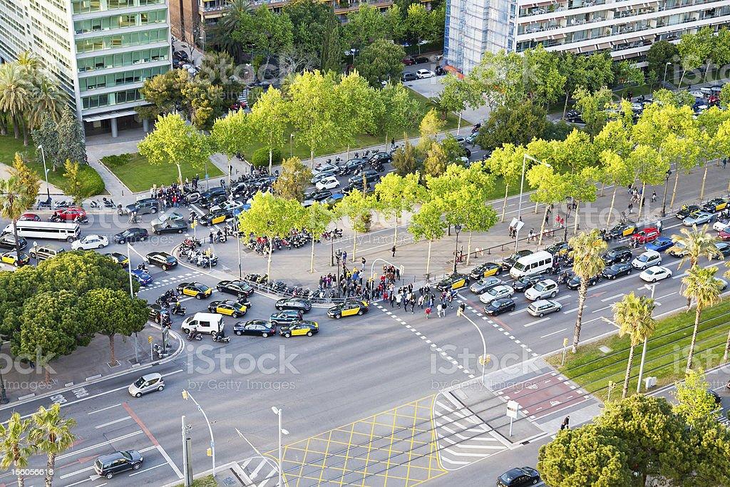 crossroad on avenue Diagonal in Barcelona stock photo