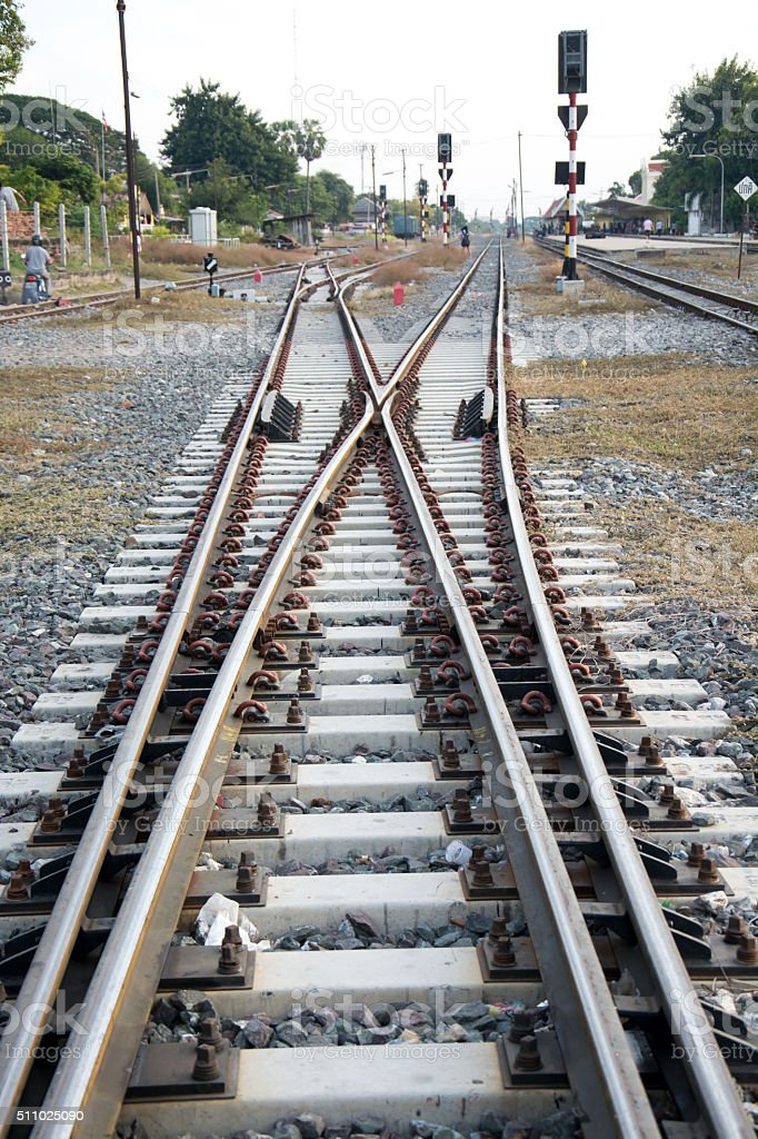 crossroad Railroad tracks stock photo