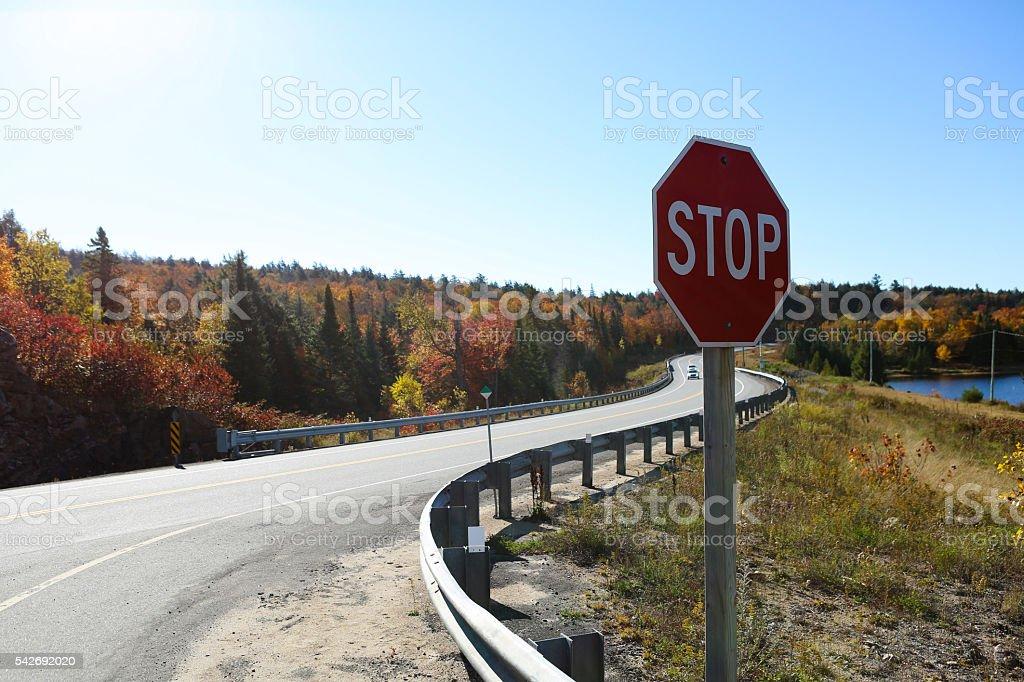crossroad sign stock photo