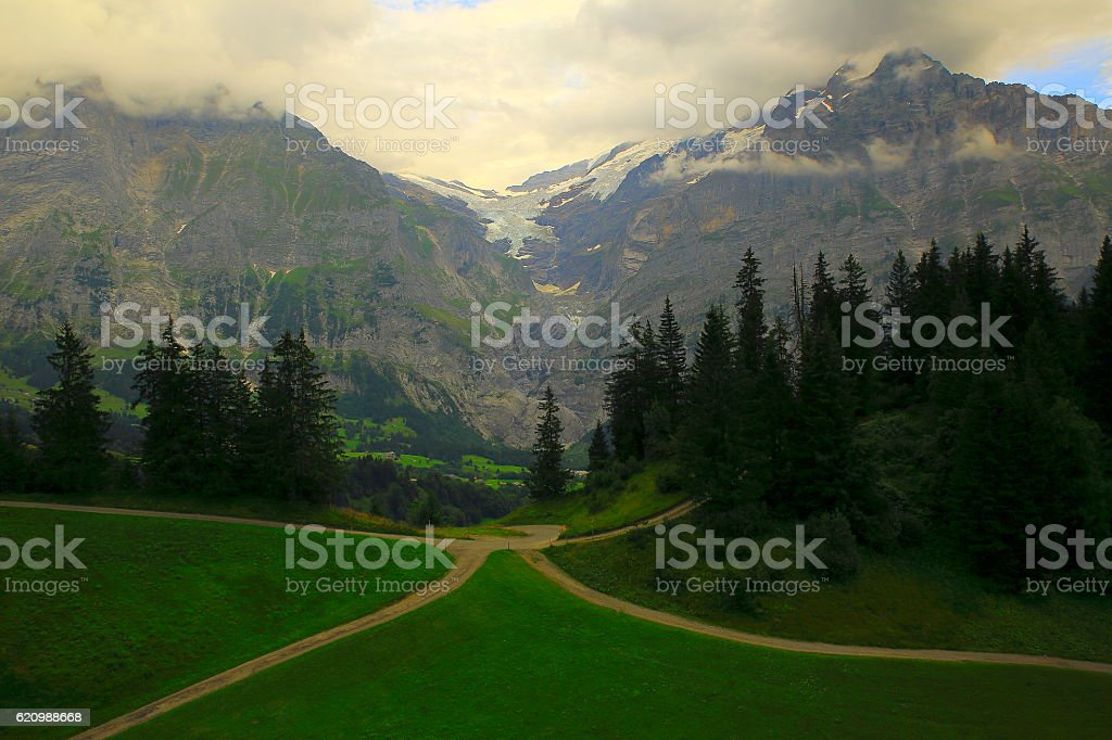Crossroads country mountain road above Grindelwald and Wetterhorn, Swiss Alps stock photo