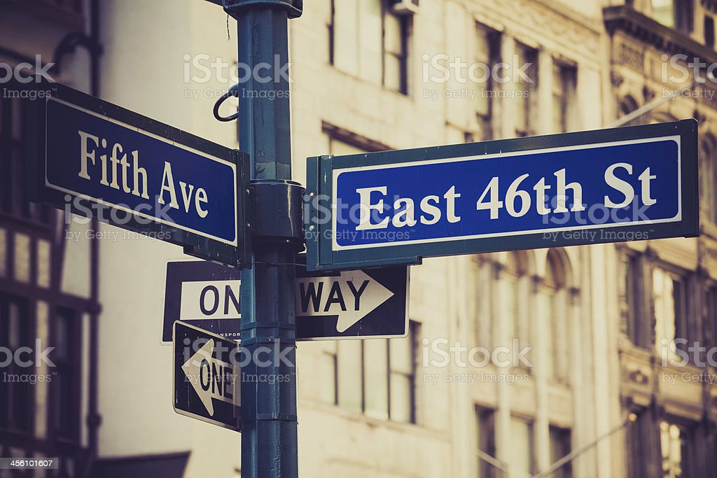 Crossroads Fifth Avenue and 46th Street in New York City stock photo