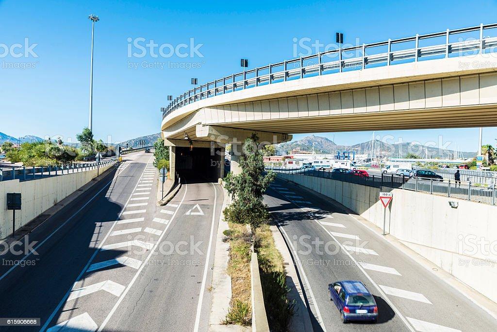 Crossroads in Olbia, Sardinia, Italy stock photo