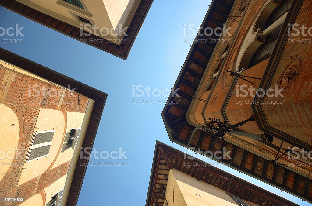 crossroads of roofs stock photo