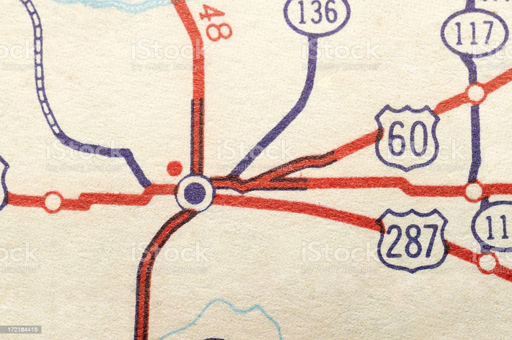 Crossroads of several highways on a road map royalty-free stock photo