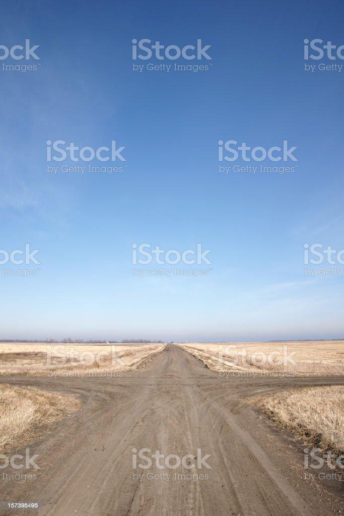 crossroads on prairie royalty-free stock photo