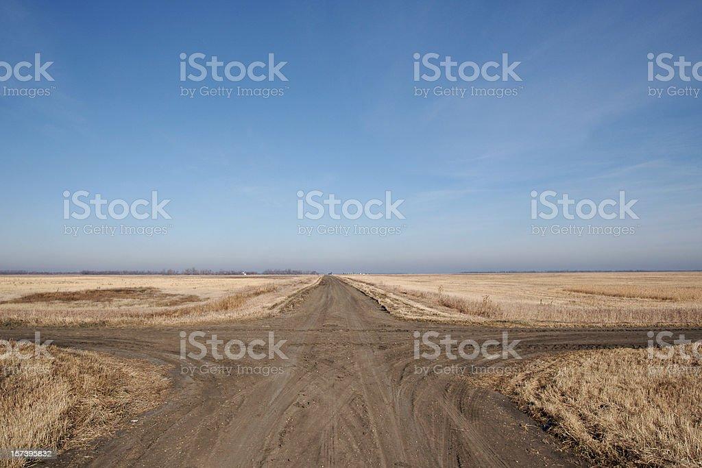 crossroads on prairie stock photo