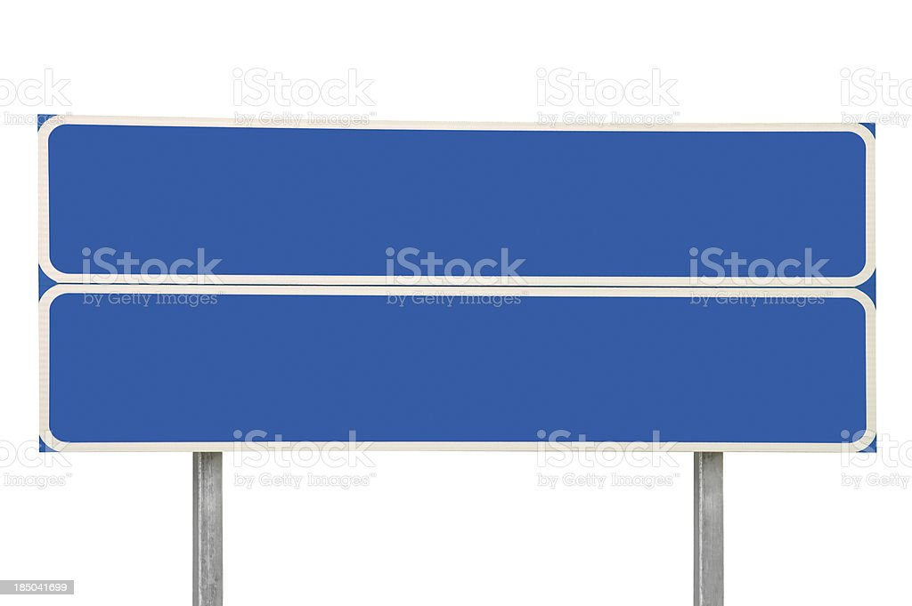 Crossroads Road Sign Blank Empty Blue Roadside Signage Isolated Large royalty-free stock photo