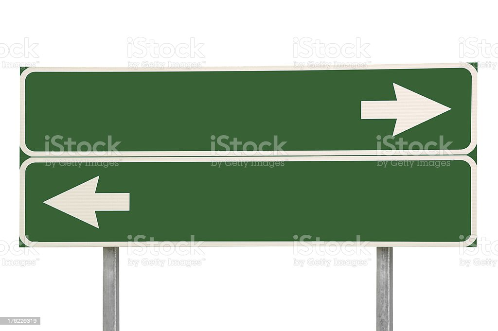 Crossroads Road Sign Two Arrow Green Isolated royalty-free stock photo