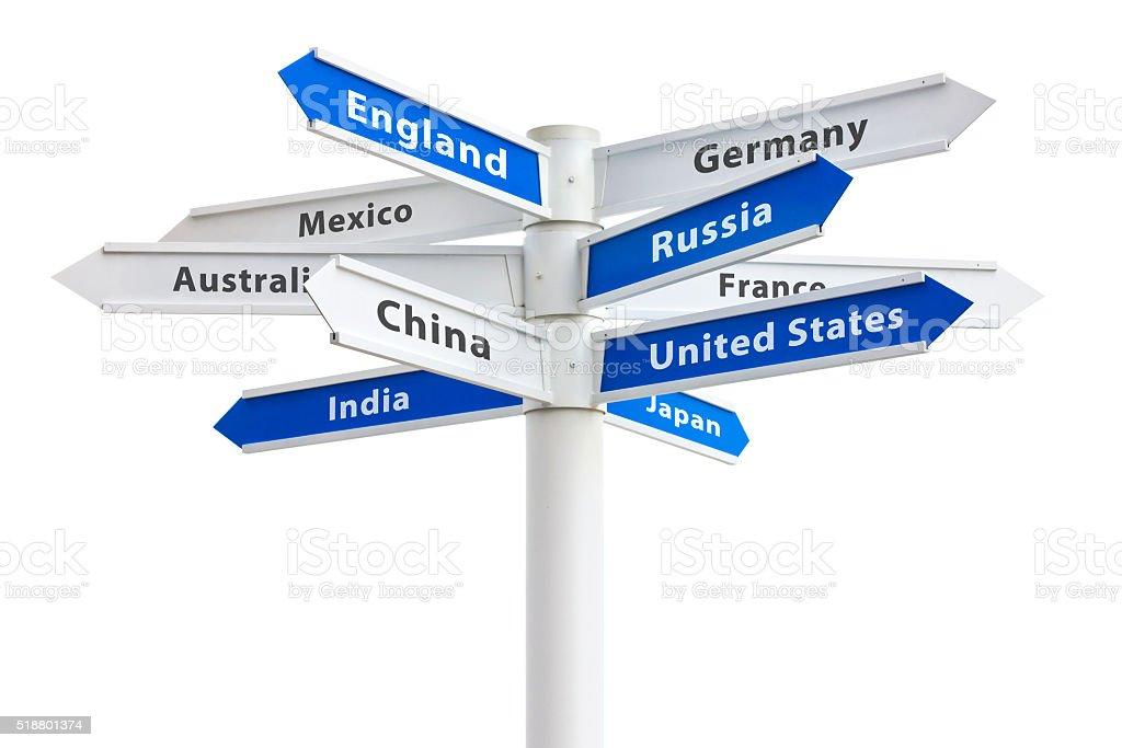 Crossroads Sign To Different Countries of the World stock photo