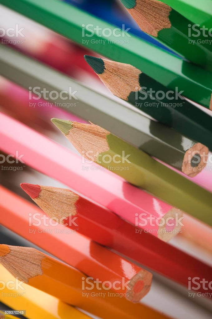 cross-stacked colored pencils near stock photo