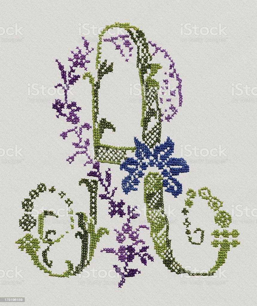 Cross-Stitch A Letter stock photo