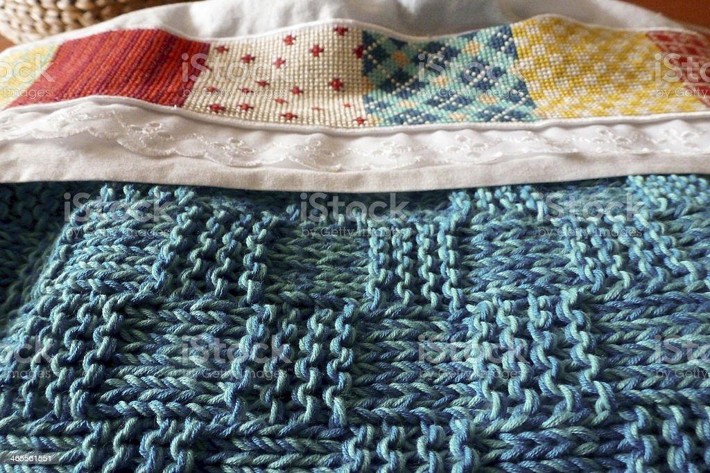 Cross-stitch and knitting royalty-free stock photo
