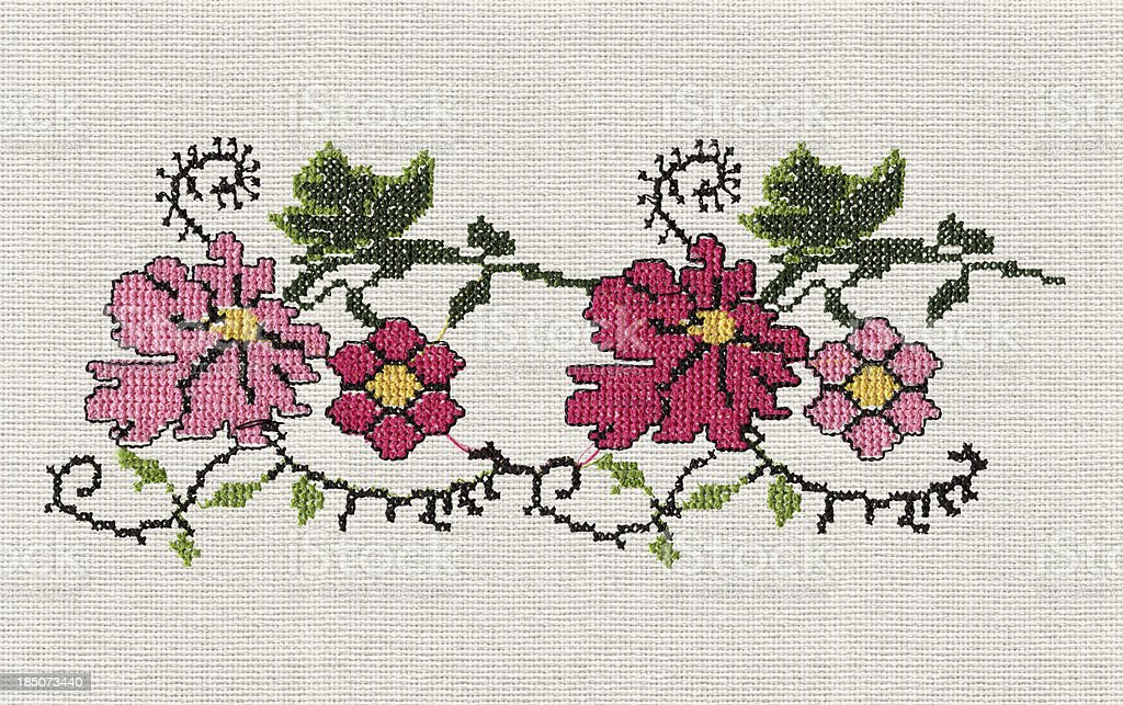 Cross-Stitch Floral Design stock photo