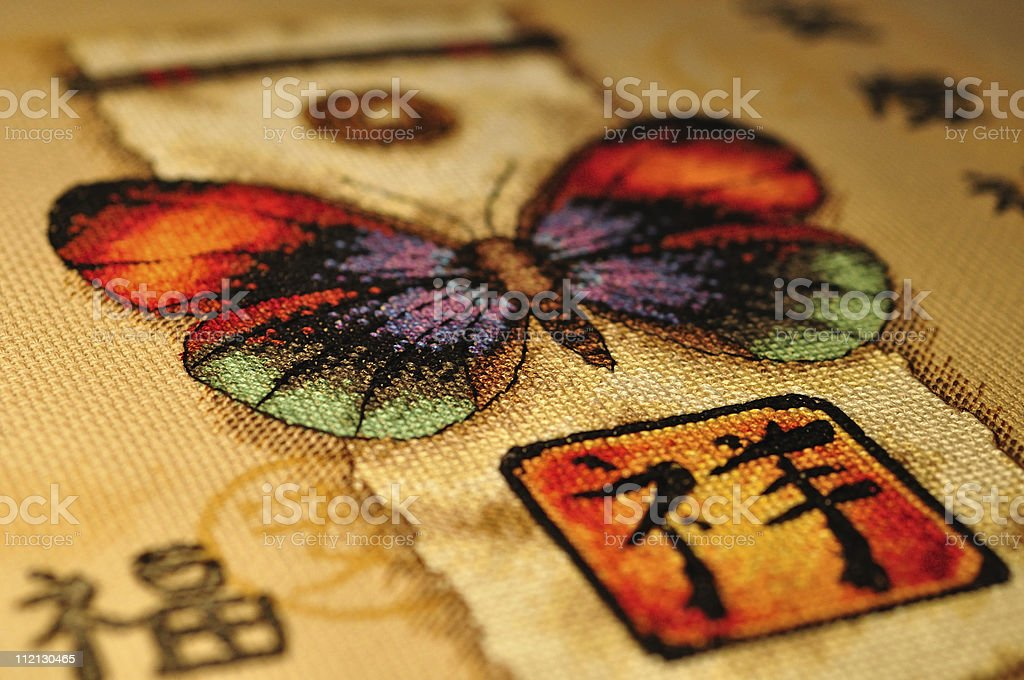 Cross-stitched butterfly royalty-free stock photo