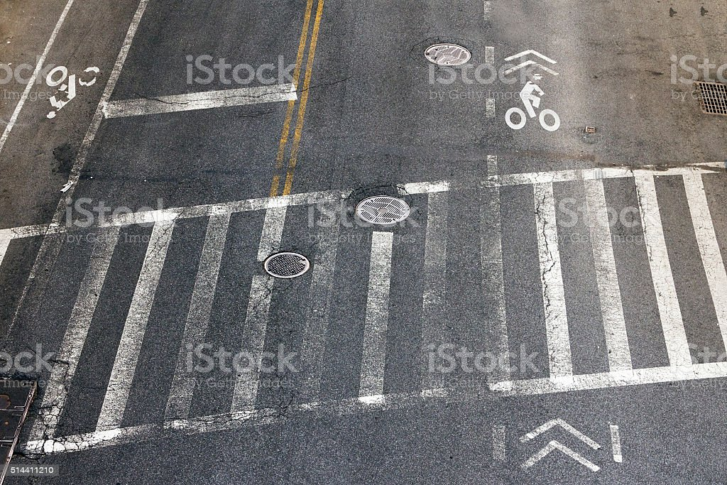 Crosswalk and Bike Lanes in NYC stock photo