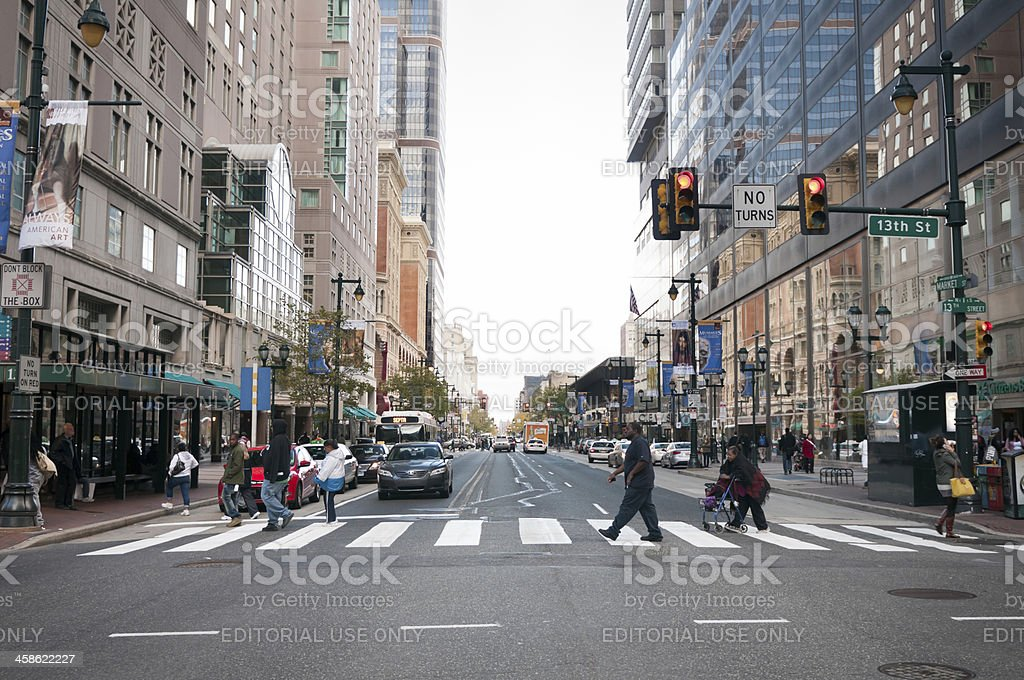 Crosswalk at 13th Street in downtown Philadelphia, USA stock photo