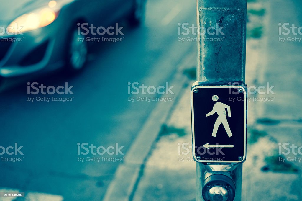 Crosswalk, button stock photo