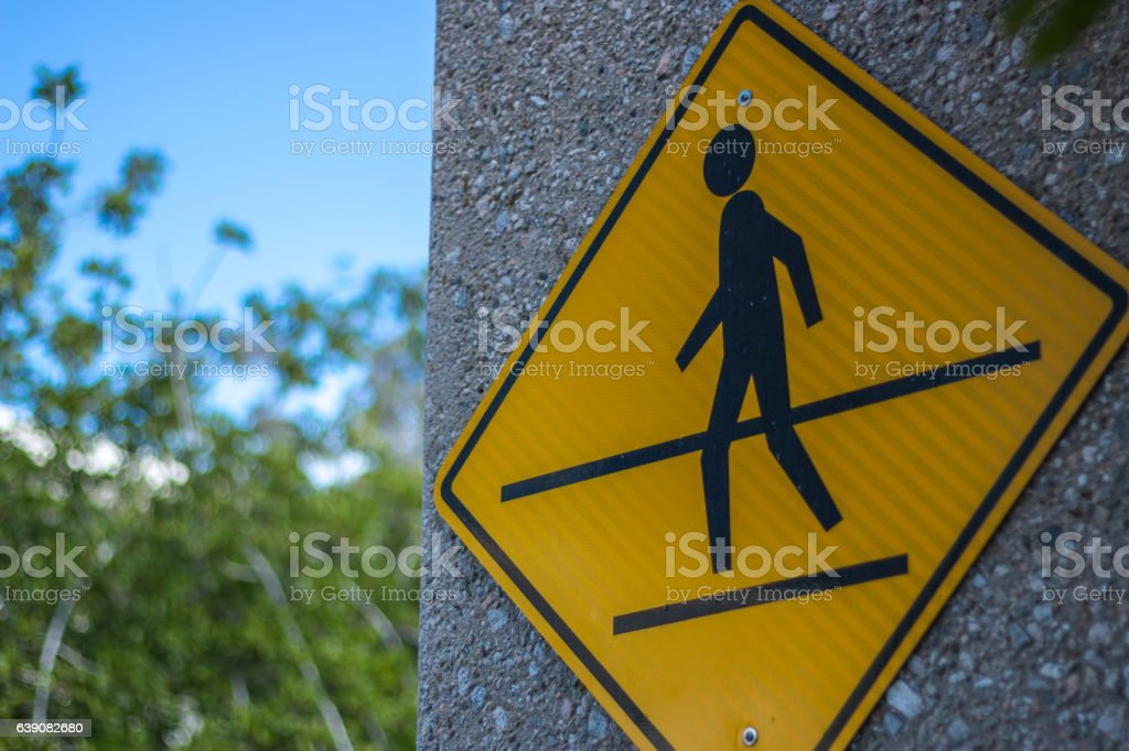 Crosswalk sign large centered stock photo