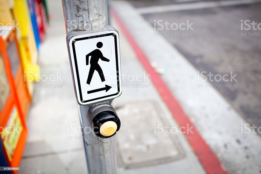 Crosswalk Sign With Button stock photo