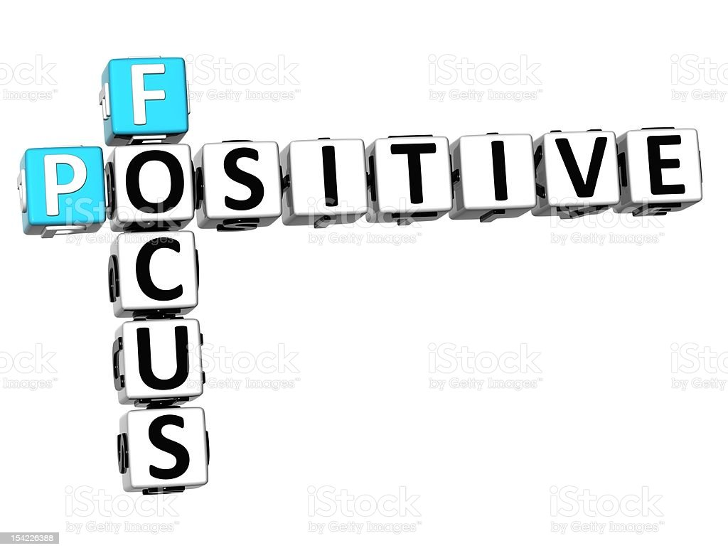 3D Crossword Focus Positive over white background royalty-free stock photo