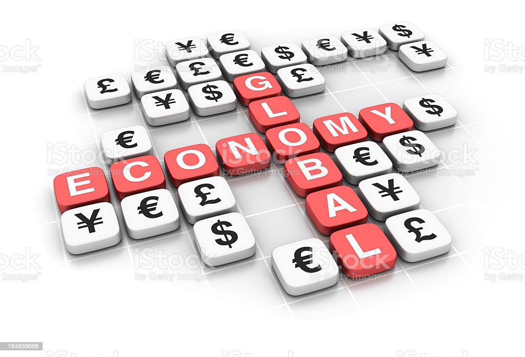 Crossword: Global Economy royalty-free stock photo