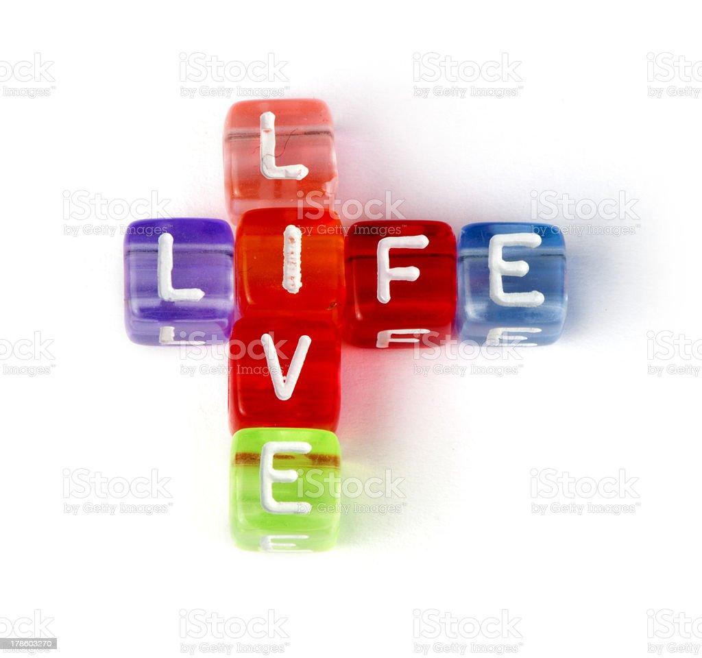 Crossword live life stock photo