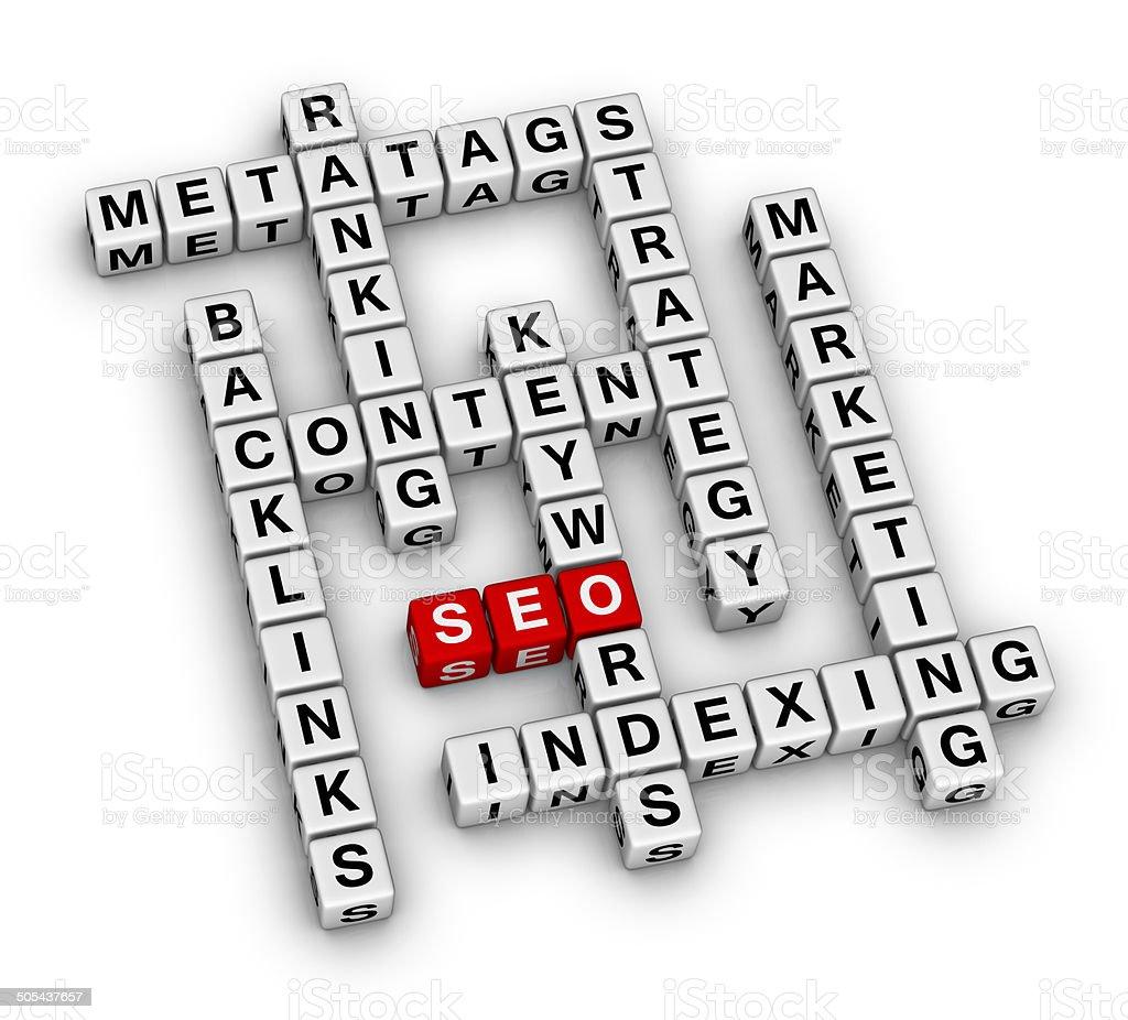 SEO crossword stock photo